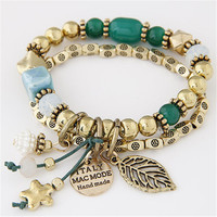 Bohemian Bracelets & Bangles Fashion Gold Beads Charm Bracelets for Women Jewelry Multilayer Pulseras Mujer Pulseira Masculina