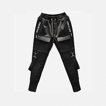 49Hot Side Pockets Pencil Pants Men's  Cargo Ripped Sweatpants