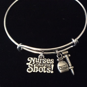 Nurses Call The Shots Adjustable Expandable Silver Plated Wire RN Bangle Bracelet One Size Fits All Medical Occupational Charm Bracelet