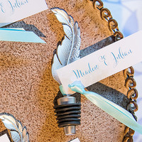 Feather Bottle Stopper Wedding Favor