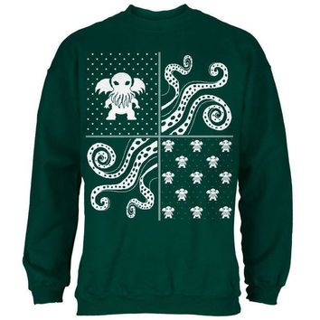 ICIK8UT Cthulhu Lovecraft Dimensions Ugly Christmas Sweater Forest Green Adult Sweatshirt