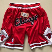 Just Don Chicago Bulls Vintage Embroidered Pocket Zipper Basketball Swingman Shorts - Best Deal Online