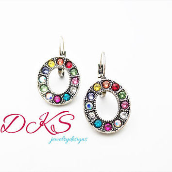 Confetti, Swarovski Lever Back Oval Earrings, Drops, Multicolor, Antique Silver, Crystal, Pave Set, DKSJewelrydesigns, FREE SHIPPING