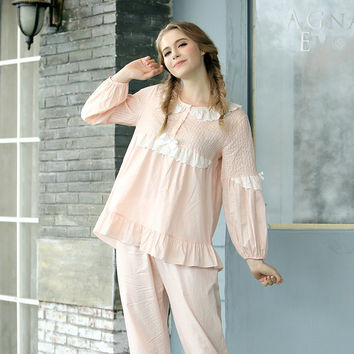 CherLemon Sping Women Cotton Long Pajamas Sleepwear Lady Ruffled Sleeve Vintage Lace Princess Sleep Lounge Set Soft Home Clothes