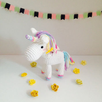 Amigurumi Unicorn Mythical Creature Crochet Unicorn Stuffed Animal Stuffed Toy Unicorn Kids Toy Kawaii Unicorn  Plush Gift Ideas