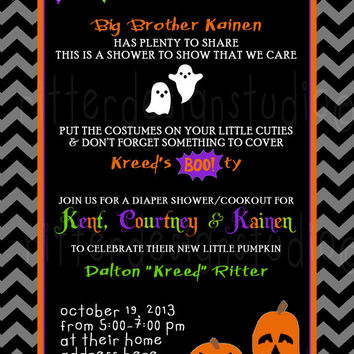 Halloween Diaper Baby Shower or Birthday Invitation - Printable
