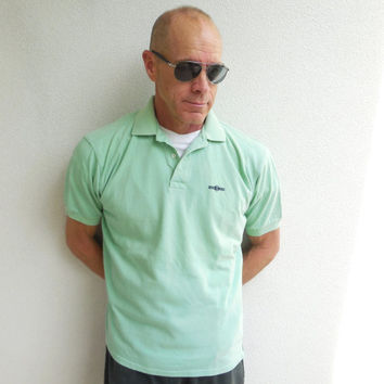 Hugo Boss Mens Polo Shirt / Mint Green / Short Sleeve / Vintage / Size 6 / M / Cotton / Soft / For Him / For Dad / Summer / Spring / ohzie