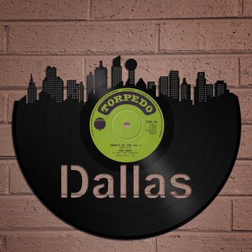 Dallas Skyline, Texas Art Gift, Album Art Design, Old Album Art of Dallas CityScape, Wall Décor, She Loves Dallas, Wall Hanging for Him