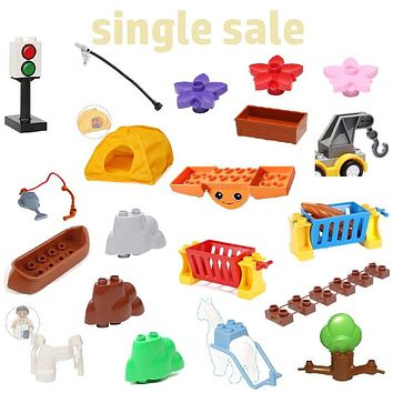 Accessories stone flower hook seesaw etc Sets Assembly Bricks Big Building Blocks Compatible with Duplo Child Baby DIY Toys Gift