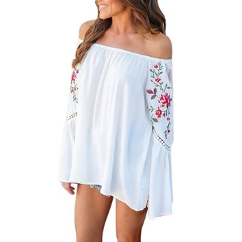 New trendy T Shirt Women sexy Off Shoulder Floral Printed Lace Long Sleeve Loose crop Tops T-Shirt Camisetas Mujer
