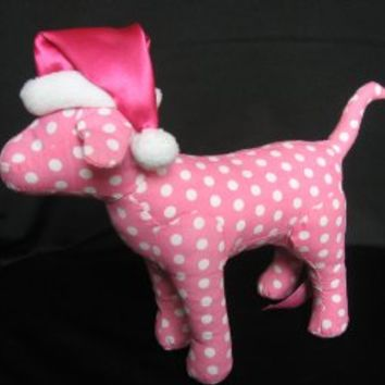 "Victoria's Secret Plush 7"" Pink Polka Dot Dog wearing Santa Hat"