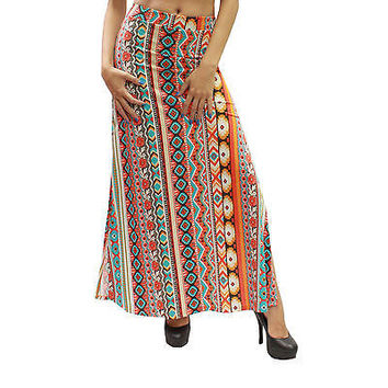 New Casual Orange Aztec Prints Two Open Splits Maxi Long Skirt Size S LV0210