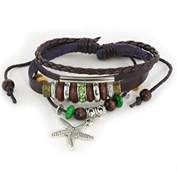 Starfish Charm Leather Bracelet Wooden Crystal Cuff BE00 Beaded Bangle Fashion Jewelry