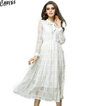 Women White And Black Bow Tie Button Front Long Sleeve Semi Sheer Lace Midi Dress New Fashion Summer Vintage Long Dresses