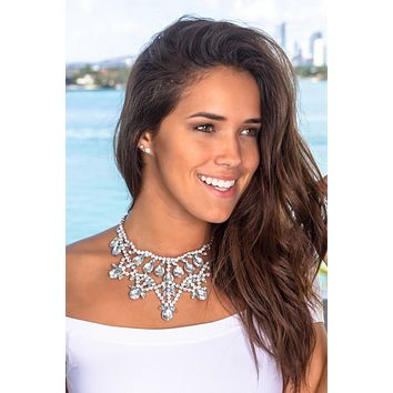Silver Jeweled Statement Necklace