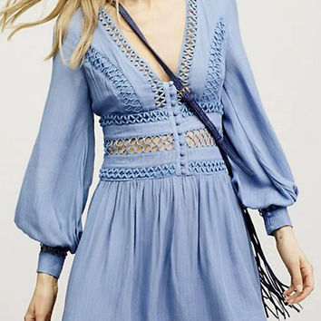 Blue Plunge V-neck Cut Out Detail Back Split Long Sleeve Dress