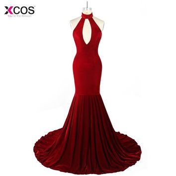 Burgundy Velvet Mermaid Evening Dresses Long 2018 Keyhole Halter Vestidos de Festa Sexy Backless Formal Party Prom Gown
