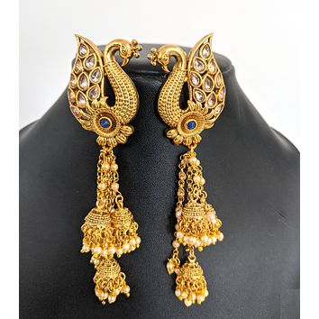 Large peacock stud with triple jhumka hanging pearl tassel gold imitation earring