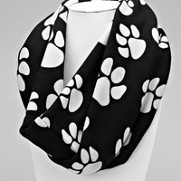 Black Animal Paw Print Orange Infinity Scarf
