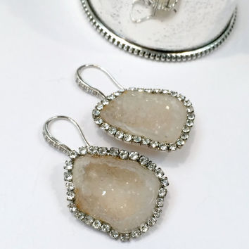 Ivory White Geode Gemstone Slice Earrings Pave Diamond Style Swarovski Crystal Statement Earrings Tabasco Geode Raw Slice - Belinda