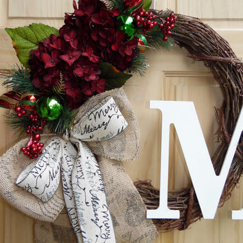 Christmas Wreath - Monogram wreath - Grapevine wreath - Hydrangea wreath - Holiday wreath - Housewarming