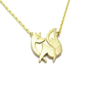 Baby Fox Shaped Silhouette Pendant Necklace in Gold | Animal Jewelry