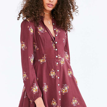 Kimchi Blue Sabrina Floral Long-Sleeve Mini Shirt Dress - Urban Outfitters