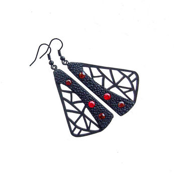 Earrings - modern, contemporary jewelry design, FREE Shipping, handmade, limited edition, lasercut wood, polymer clay, black steel hooks