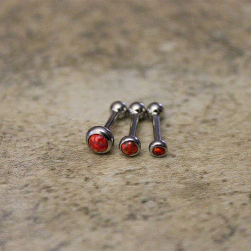 Red Fire Opal Helix Cartilage Earring,Internal Thread Surgical Steel Piercing Jewelry 16G,18G, Helix, Triple Helix Tragus, Conch
