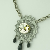 SteamPunk Necklace with Vintage Watch Movement and Swarovski Crystals by VictorianFolly