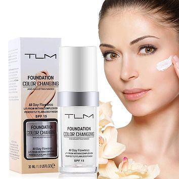 TLM Magic Color Changing Liquid Foundation Oil-control Face Cover Concealer Long Lasting Makeup Skin Tone Foundation