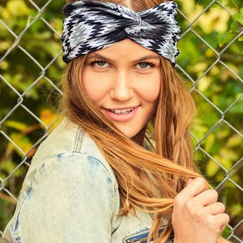 Cyber Monday SALE Aztec Tribal Turban Headband Black White Yoga Headband Hair Band  Turban Headband Headwrap Black Yoga Workout Twisted Band