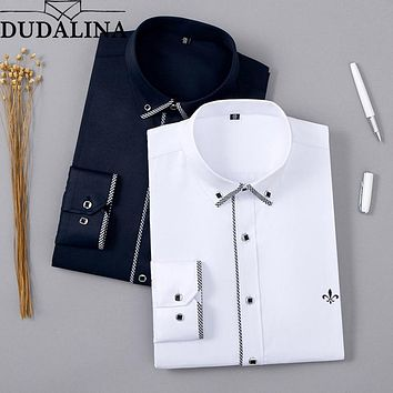 DUDALINA 2019 Men Shirt Without Pocket Long Sleeved Classical Male Shirts Formal Business Shirt Man New Arrival Embroidery Logo