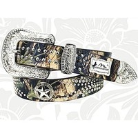 "Montana West Camo Western Rhinestone Texas Star Belt Genuine Leather (Large (37"" - 41"" holes))"