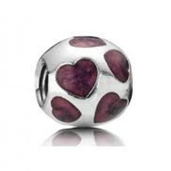 Pandora Love You Purple Hearts Charm Bead # 790543ENZ Retired, Authentic
