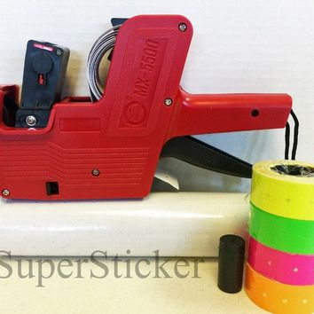 [ Fly Eagle ] MX-5500 8 Digits Price Tag Gun Labeler Plus 5000 White / Blank labels +Free Gift