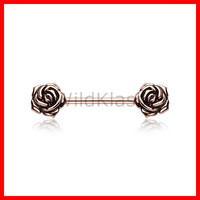 Rose Gold Vintage Rose Flower Nipple Barbell Ring