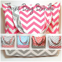 Three Beach Bags - Chevron Tote Bag - Beach Wedding - Choose Your Colors - Cotton Canvas Tote - Made To Order