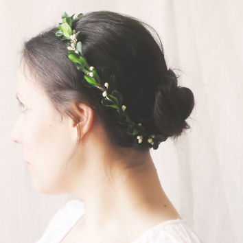 Boxwood Flower Crown, Green Bridal Headpiece, Natural Circlet, Bridesmaid Hair Accessories, Rustic Halo, Woodland Wedding, Leaf Wreath, Halo