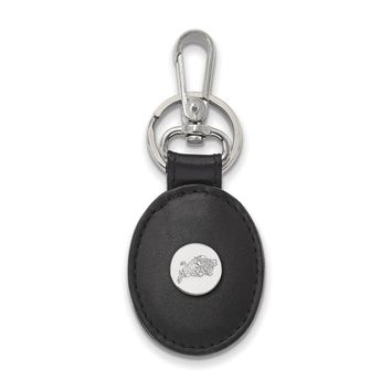 NCAA Sterling Silver Navy Black Leather Key Chain