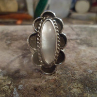 Authentic Navajo Native American Traditional vintage style sterling silver mother of pearl ring size 8 1/2.Can be adjusted up to size 10 1/2