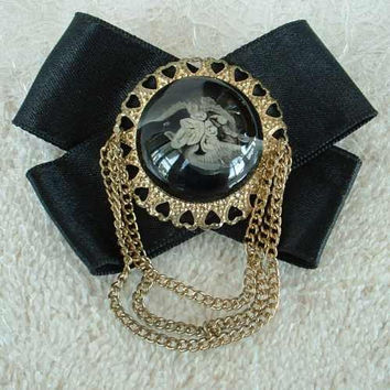 Rev Painted Lucite Orchid Chatelaine Ribbon Mourning Brooch Vintage