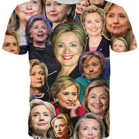Hillary Clinton Paparazzi All-Over Print Sublimated Cotton Multi-Color T-Shirt