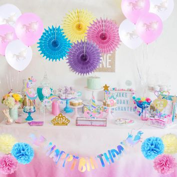 Unicorn Birthday Party Supplies Girls Rainbow Unicorn Pegasus Photo Props Balloons Baby Shower 1st Birthday Party Decorations
