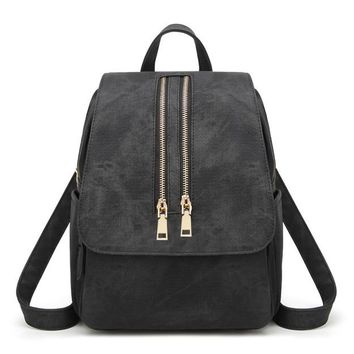 School Backpack trendy BRIGGS Fashion Backpacks for Teenage Girls Women's PU Leather Backpack School Bag Casual Vintage Large Capacity Travel Backpack AT_54_4