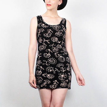 Vintage 90s Dress Black Floral print Bodycon Micro Mini Dress 1990s Dress Club Kid Dress Rave Bandage Dress Soft Grunge Dress M Medium