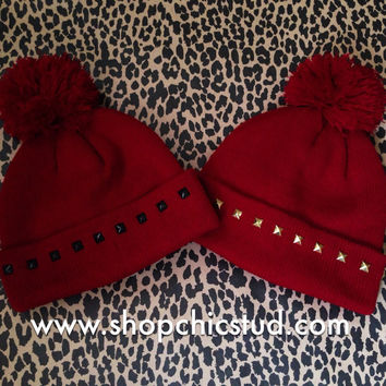 Studded Pom Pom Beanie - Burgundy Beanie Hat - Gold, Silver, or Black Studs