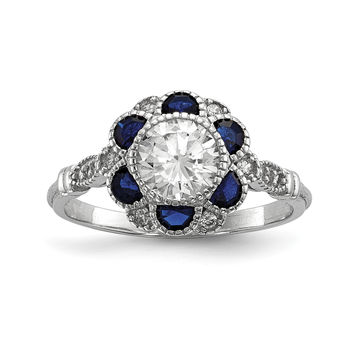Sterling Silver Rhodium-plated CZ & Synthetic Blue Sapphire Flower Ring