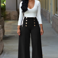 White Deep V Long Sleeve Top Black Button Detail Wide Leg Pants