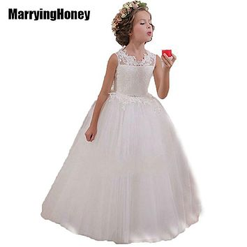Appliques Lace Tulle Flower Girl Dresses For Weddings First Communion Dress Cheap White Little Girls Pageant Princess Ball Gown